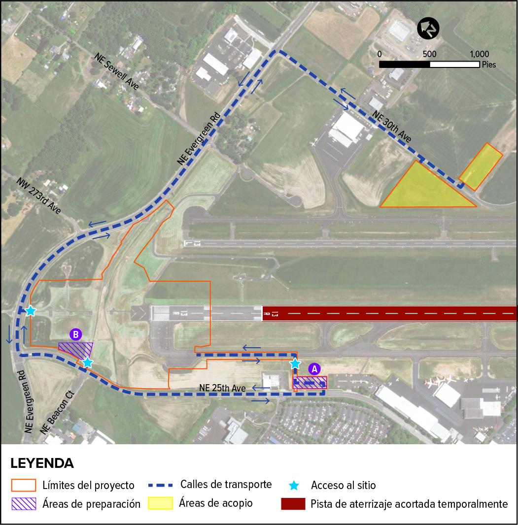 Un mapa técnico ilustra las áreas clave de construcción, incluidas las áreas de preparación, las áreas de acopio, los puntos de acceso al sitio y las calles de transporte ubicadas dentro de los límites del proyecto.