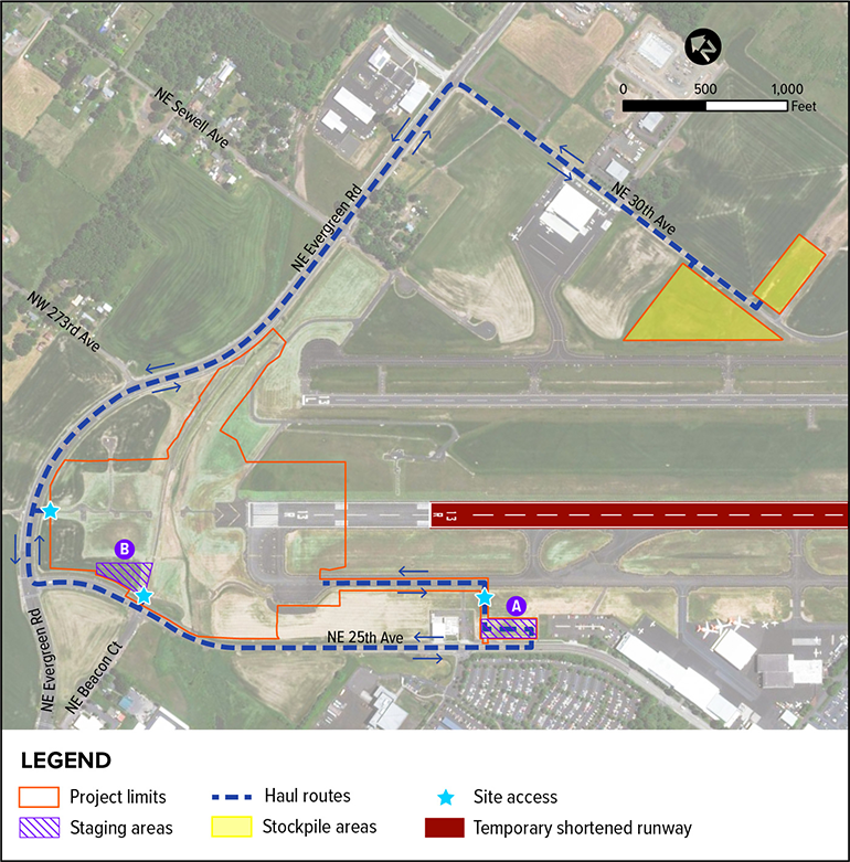 A technical map illustrates key construction areas including staging areas, stockpile areas, site access points, and haul routes located within the project limits.
