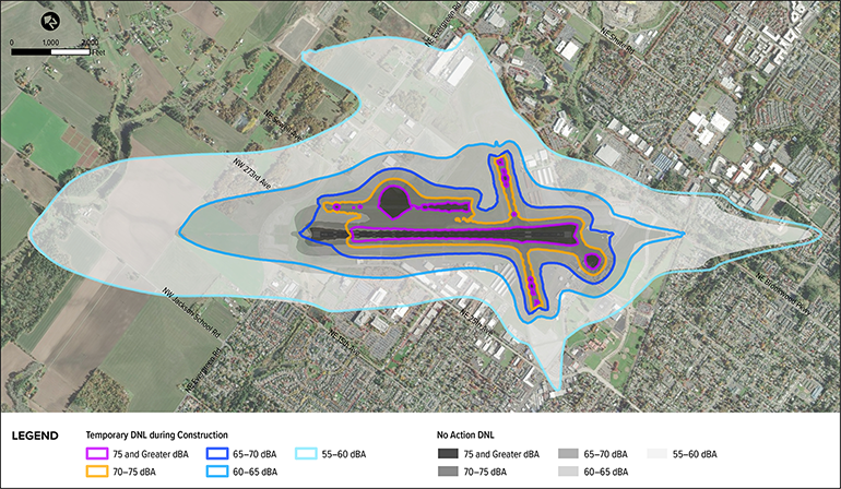Map of aircraft noise contours during construction