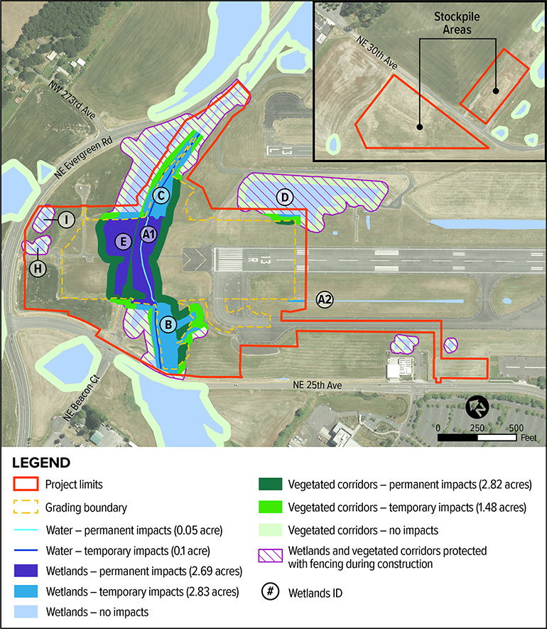 Map of wetland and water impacts