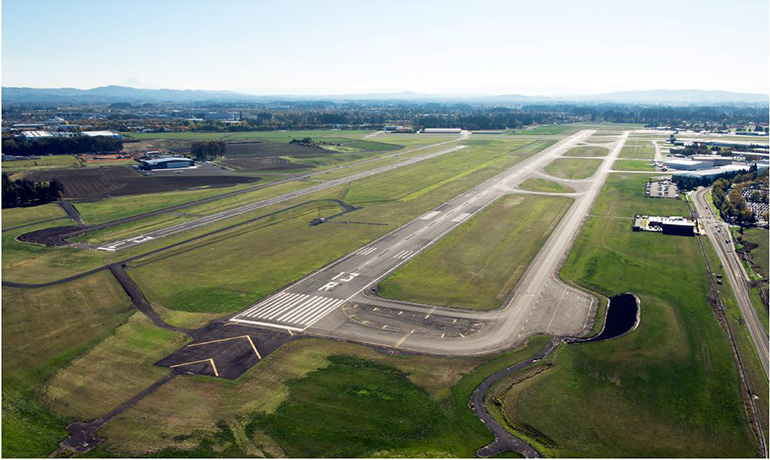 Runway 13R-31L and runway safety area at Hillsboro Airport